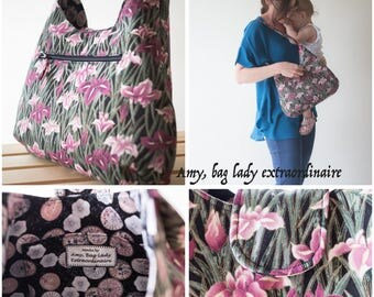 Shoulder bag, medium size, flowers, irises, purple and black, purse, handbag