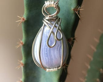 Hand Wire Wrapped Blue Lace Agate Pendant Necklace, Gemstone, Crystal, Gift, Keychain
