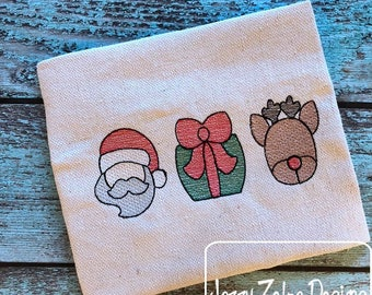 Christmas Trio sketch embroidery design - Christmas embroidery design - sketch embroidery design - Santa embroidery design - reindeer - gift