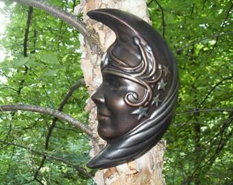 Luna, Lady of the Moon Wall Plaque, Moon and Stars Goddess Statue, Moon Wall Hanging, Moon Art, Goddess Decor, Celestial Decor,Cement