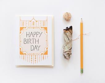 Macrame Birthday Card, Boho Birthday Greeting Card, Happy Birthday Card
