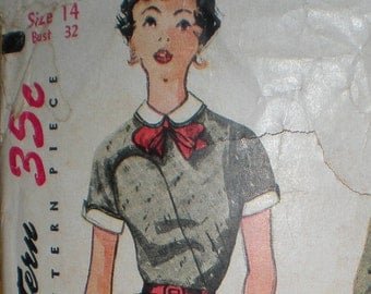 Vintage 1953 Slim One Piece Dress Simplicity Sewing Pattern # 4465 Size 14 Bust 32