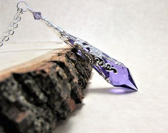 Swarovski Crystal Tanzanite Prism and Shiny Silver Pendulum Necklace - Popsicle