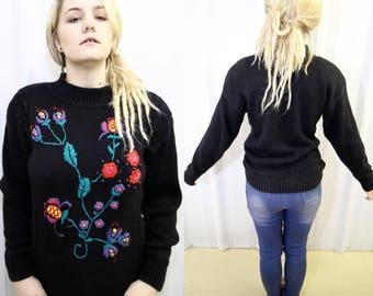 VTG RETRO PULLOVER ϟ Vibrant Statement Embroidered Floral Multi Texture 3D Vintage + Black / Knit Jumper / Sweater