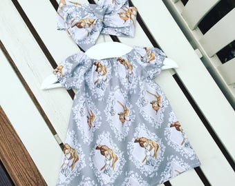 BABY GIRL'S DRESS in 100% cotton Disney Bambi Thumper fabric in grey gray ages 0-3 months 3-6 months 6-12 months - Can be personalised