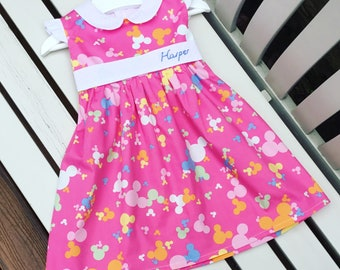 MADE TO FIT Personalised pink Disney vacation holiday dress in quality 100% cotton fabric with Mickey Minnie Mouse Disney ears motif