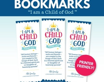 2018 LDS Primary Theme Bookmarks - I am a Child of God
