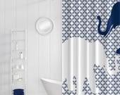 Elephant Shower Curtain Navy White Art Bathroom Accessories Home Decor Modern