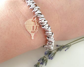 Bracelet with knot in aluminum and pendant of hot-air balloon in silver 925