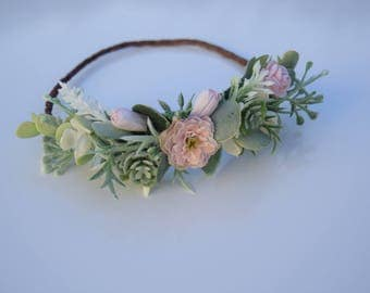 Newborn Flower Crown - Succulent Eucalyptus Halo -Pink Baby Crown - Newborn Photo Prop - Newborn Halo - Succulent Halo with Roses and Tulips