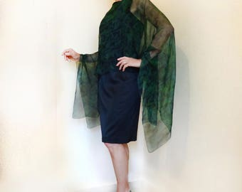 Green silk kaftan dress Hand painted sheer poncho cape Hand dyed top Handpainted emerald chiffon tunic Wedding Plus size caftan cover up
