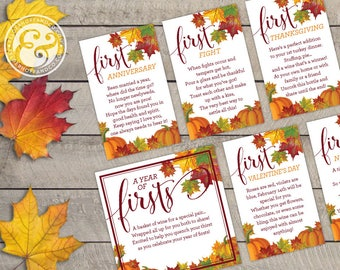 A Year of Firsts - Fall in Love Wine Basket Tags INSTANT DOWNLOAD (for 12 bottle basket)