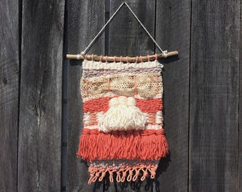 Chunky Coral Weaving // Woven Wall Hanging