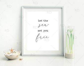 Let The Sea Set You Free - PRINTABLE Wall Art / Watercolor Printable / Wall Art / Blue Wall Art / Ocean Quote Art / Sea Quote / 2 for 1!