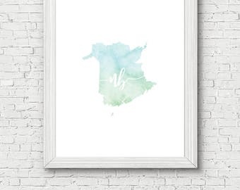 New Brunswick Province Printable - digital download, dorm decor, clean and simple, watercolor, minimalist art, canada province outline