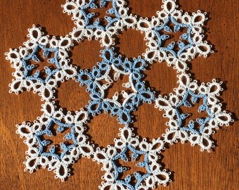 White and Blue Tatted Lace Snowflake Doily