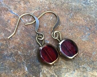 red czech glass earrings bohemian everyday earrings antiqued gold earrings valentines gift earrings  dangle drop earrings basic red earrings