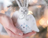 Christmas angel doll decoration Knitted rabbit ornament Christmas Grey hare ornament Knit angel doll rabbit home decor Bunny rabbit memorial