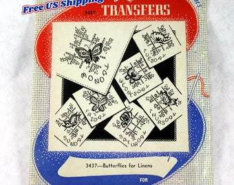 Aunt Martha's 3437 Hot Iron Transfers, Butterflies for Linens, Uncut/Unused