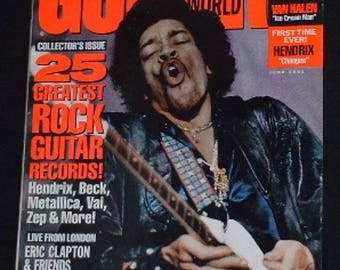 Jimi Hendrix Eric Clapton Eddie Van Halen 25 Rock Guitar Records June 1991 Guitar World Magazine