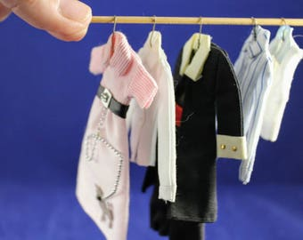 """Dollhouse Miniatures 1"""" scale wardrobe 5 hanging pieces including hangars for bedroom or hall closet"""
