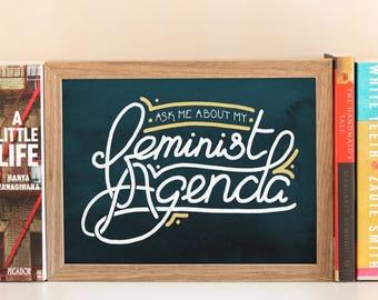 Feminist Agenda Art Print // Feminist Wall Art, Girl Gang, Feminist AF, Feminism, Fight Like a Girl, Nasty Woman, Smash the Patriarchy