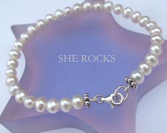 Small Freshwater pearl wedding bracelet Sterling Silver white pearl bridal bracelet, AA pearl bracelet bridal jewelry bridesmaid jewellery