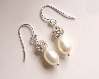 Freshwater Pearl drop bridal earrings Sterling Silver pearl and diamante earrings hooks or studs bridal jewellery, pearl wedding jewelry