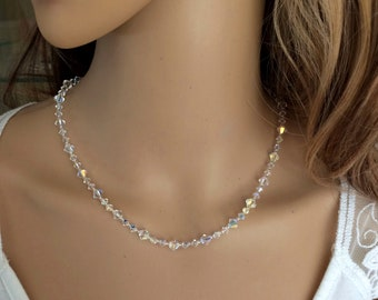 SWAROVSKI crystal bridal necklace Sterling Silver AB or clear crystal wedding necklace bride choker Swarovski jewellery bridesmaid jewelry