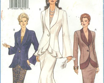 1993 Misses' Long Sleeve Front Button Top and Semi-Fitted A-line or Flare Skirt UC FF Size 14, 16, 18 - Vogue Sewing Pattern 8850