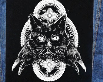 Cat and Crows Back Patch | Patches | Punk Patches