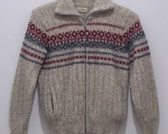 Vintage LL Bean Sweater Mens M Full Zip Wool Nordic Norway Maine USA Made #1680