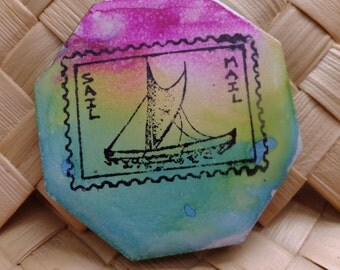 Ceramic Tile Magnet.  With hand stamped painted ,  Hawaiin Outriger Stamp Sail Mail