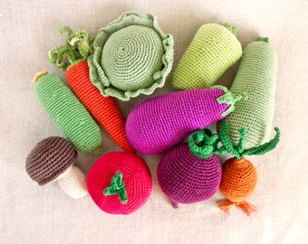 Choose Your Own Set 5, Waldorf Toys for child, Crochet Vegetables Fruits, Faux Food, Market Play,Knit Kitchen Decor, Baby Gym, Activity arch