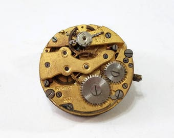 Vintage, Gilt, Pocket Watch, Movement, Dial, Steampunk, Altered Art, Assemblage, Jewelry, Beading, Supply, Supplies