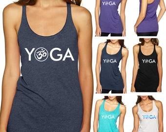 YOGA Chakra Ladies Tri-Blend Racerback Tank Next Level New Age Namaste Om Shirt