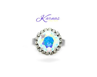 CRYSTAL AB 12mm Cushion Cut Adjustable Ring Made With Swarovski Elements *Pick Your Finish *Karnas Design Studio *Free Shipping*