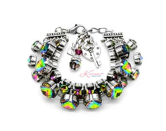 WINTER BRIGHTS 12mm/8mm Cushion & Round Cut Bracelet Made With Swarovski Crystal *Pick Your Metal *Karnas Design Studio *Free Shipping*
