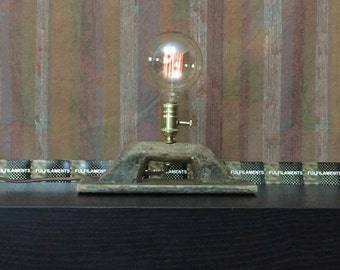 Desk Lamp - Lighting Upcycled, Repurposed Antique Wood Masonry Trowel Desk Lamp