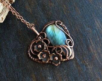 Copper necklace Nature jewelry Heart Necklace Flower pendant Wrap Necklace Blue Gemstone