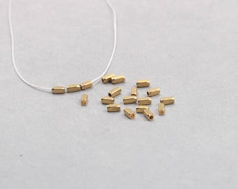 50Pcs, 4mm Raw Brass Tube Beads , Hole Size 0.8mm , SJP-A082