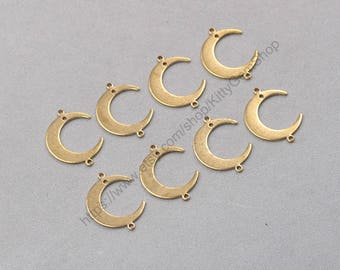 20Pcs, 22mm  Raw Brass Moon Slice Pendants Charms Wholesale Handmade Craft Supplies ZR-7803