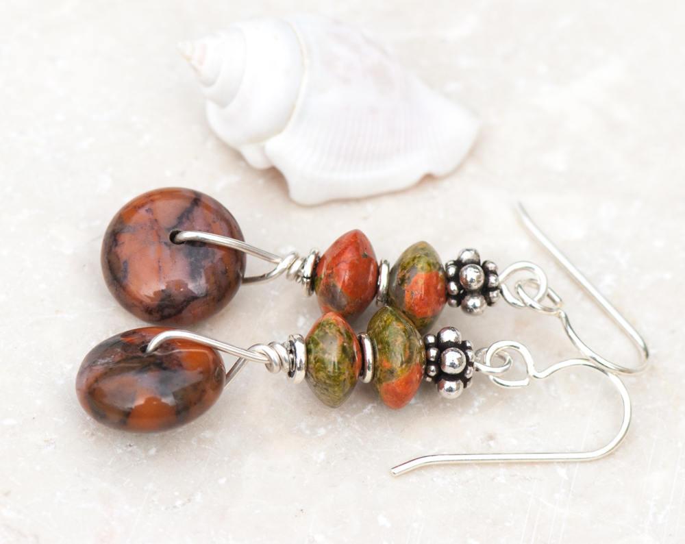 Jasper and Unakite Earrings, Natural Stone Earrings, Jasper Earrings, Orange and Green Earrings, Sterling Silver Earrings, Rustic Earrings