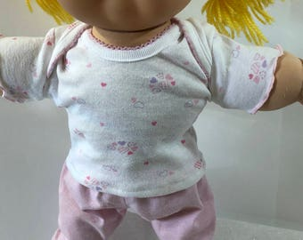 "Cabbage Patch Doll 16 inch Doll Clothes, Tiny Pink and Purple ""HEARTS"" on White Top, Pink Pants, 16 inch Cabbage Patch Clothes"
