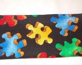 Autism Puzzle Print Fabric Pencil Pouch