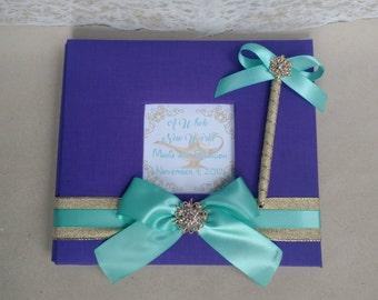 "Aladdin ""A Whole New World"" Guest Book Set- Choice of Colors- (Wedding, Birthday, Etc) - Custom Guestbook Disney Aladdin Princess Jasmine"
