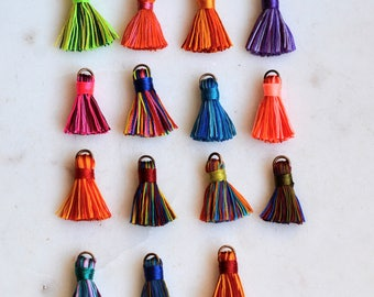 Mini Tassels, Tassels, Tassles, Small Tassels, Multi Colored, Jewelry Tassels, Choose Colors,Short,Boho,Chunky Tassels,Silky,Pack of 6, BS15