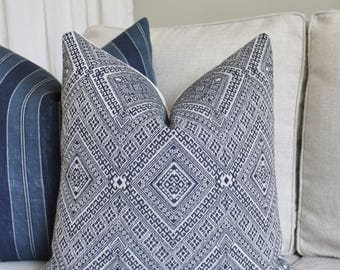 Blue Tribal Pillow Cover // Nate Berkus Prussian Jacquard Diamond Ethnic Pillow Cover 18x18 20x20 Throw Pillow 16 18 20 22 24 26 Euro