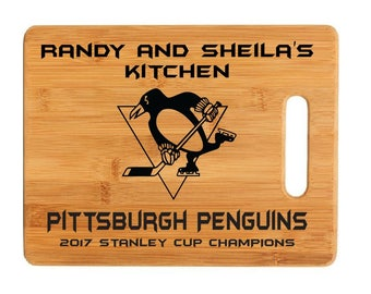 Pittsburgh Penguins 2017 Stanley Cup Champions Cutting Board Sign gifts Custom Engraved Cutting Board Personalized Wedding Gift Anniversary