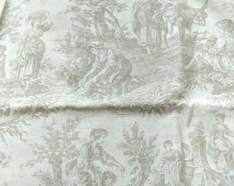 "French Country Toile De Jouy Fabric  Country Life by Waverly  Beige Off White Cotton Table Cloth Cover Home Decor 53 x 54"" / 135 x 137 cm"